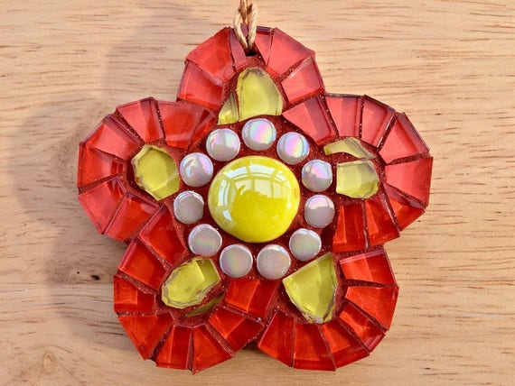 Handmade glass orange mosaic hanging flower ornament Unique gift idea Home decor Gift for her Mothers' Day