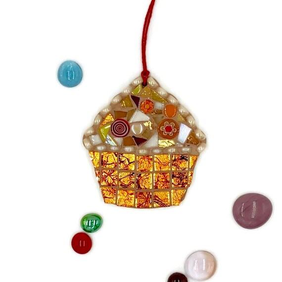 Handmade glass orange mosaic hanging cupcake ornament Unique gift idea Kitchen decor