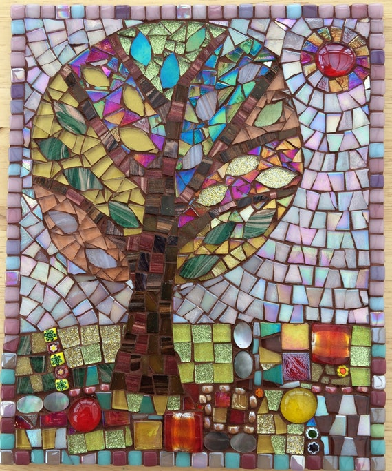 Handmade glass abstract tree folk art mosaic picture Unique gift idea Home decor Mosaic wall art 'Tree in Spring (I)'