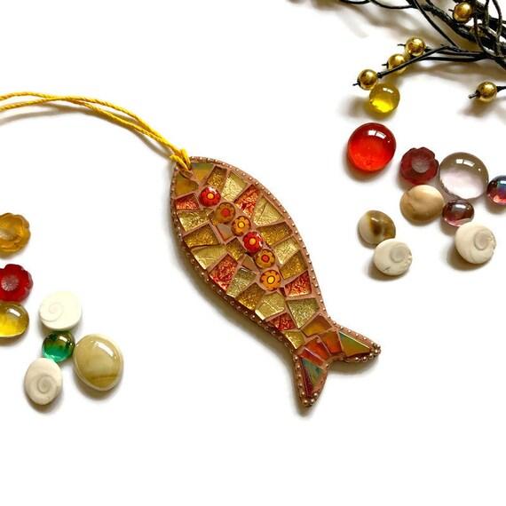 Mosaic Fish Ornament; Fish wall art; Handmade gold coloured fish ; Unique gift idea; Home decor