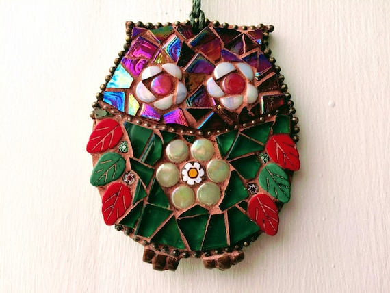Handmade glass mosaic red and green hanging owl ornament Unique gift idea Home decor Gift for her