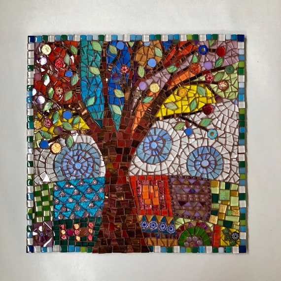 Handmade glass abstract tree and fields mosaic folk art picture Inspired by Karla Gerard Art Unique gift idea Home decor Mosaic wall art
