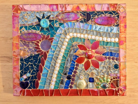 Handmade glass abstract flowers and garden mosaic picture Unique gift idea Home decor  'Twilight Silver' Mosaic wall art