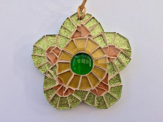 Handmade glass green mosaic hanging flower ornament Unique gift idea Home decor Gift for her Mothers' Day