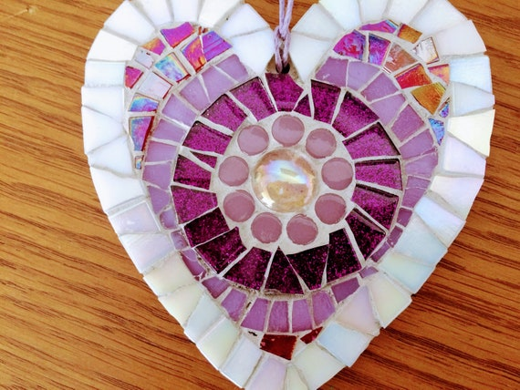 Handmade glass mosaic hanging purple red heart ornament Unique gift idea Home decor Gift for her Heart gift Wall art Wall decor