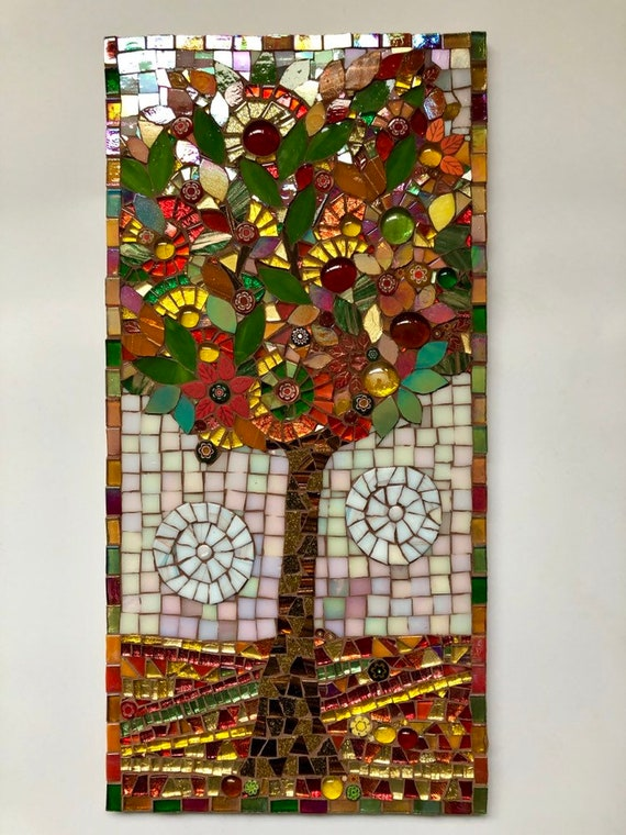 Handmade glass abstract tree mosaic picture Unique gift idea Home decor Mosaic wall art 'Tree in Autumn' Autumn colours