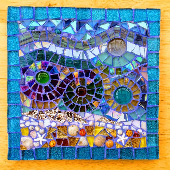Handmade glass and pebble mosaic picture Unique gift idea Home decor 'Seascape in Blue Glitter' Mosaic wall art