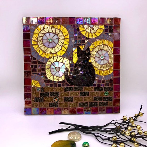 Handmade glass abstract black cat mosaic picture Mosaic wall art Unique gift idea Home decor 'Cat and the Stars'
