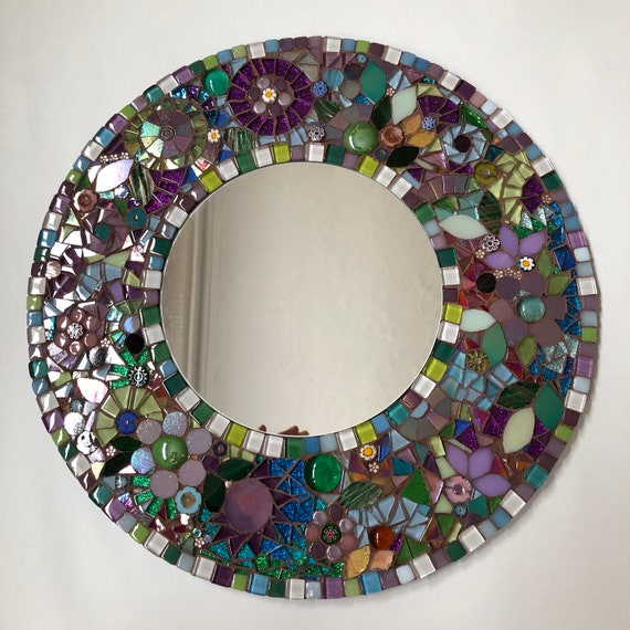 Handmade glass mosaic round 'Flowers by the Lake'mirror Wall art mirror Home decor Unique gift idea Gift for her