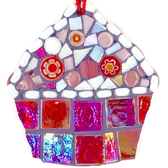 Handmade glass red mosaic hanging cupcake ornament Unique gift idea Kitchen decor