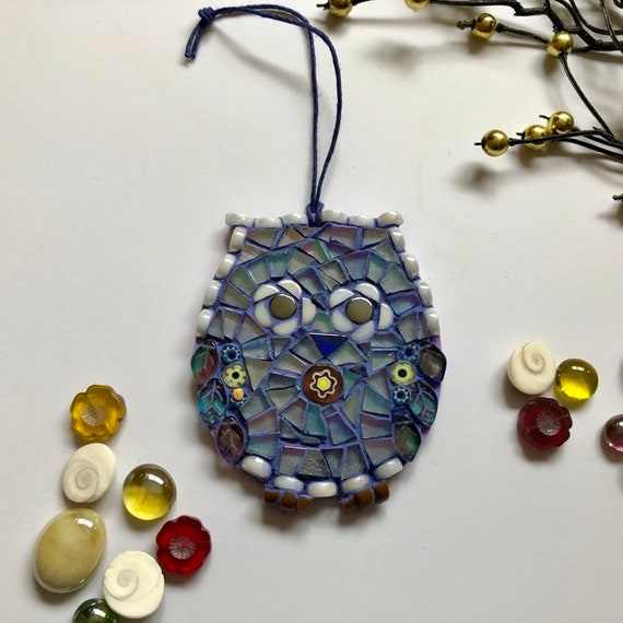 Handmade glass mosaic blue hanging owl ornament Unique gift idea Home decor Mosaic wall art Christmas ornament