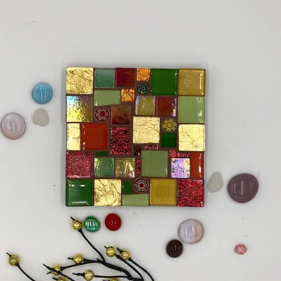 Handmade glass gold orange and green mosaic square coaster Unique gift idea Living room decor Home decor