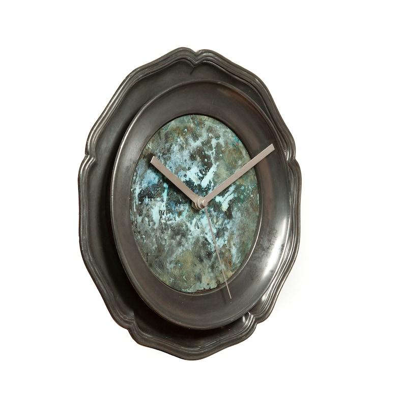 Fait à la main en étain et de cuivre horloge murale - salle de séjour étude dessus de sticker cuisine moderne métal employé vente cadeau art anniversaire mariage gay R01-143
