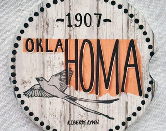Oklahoma Sandstone Car Coasters - Absorbent / Sooner State / Souvenir / Scissortail / Gifts For Him or Her / Birthday