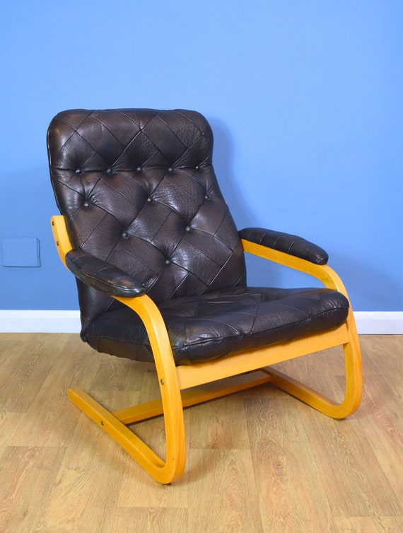 Strange Mid Century Retro Danish Black Patchwork Leather Bentwood Lounge Armchair 1980S Pabps2019 Chair Design Images Pabps2019Com