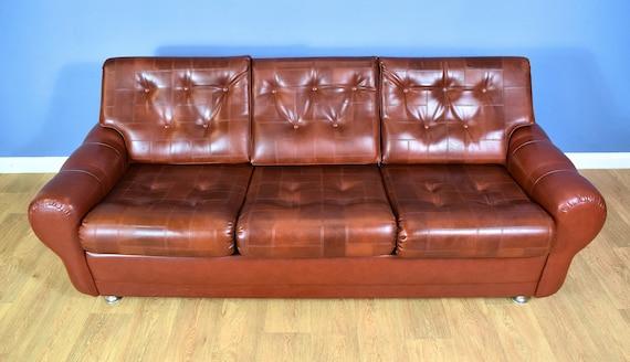Astonishing Mid Century Retro Danish Cognac Brown Faux Leather 3 Seat Sofa Settee 1960S 70S Uwap Interior Chair Design Uwaporg