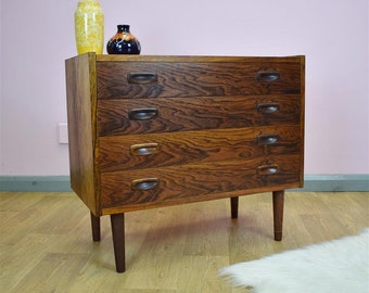 Mid Century Retro Danish Rosewood Chest of 4 Drawers Tall Boy Dresser 1960s 70s