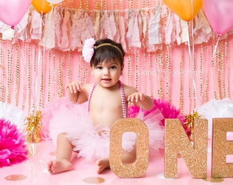 Gold One Letters - Glitter One Letters - Gold Glitter Letters - First Birthday Party - Gold Birthday Party Decorations - Baby Photo Props