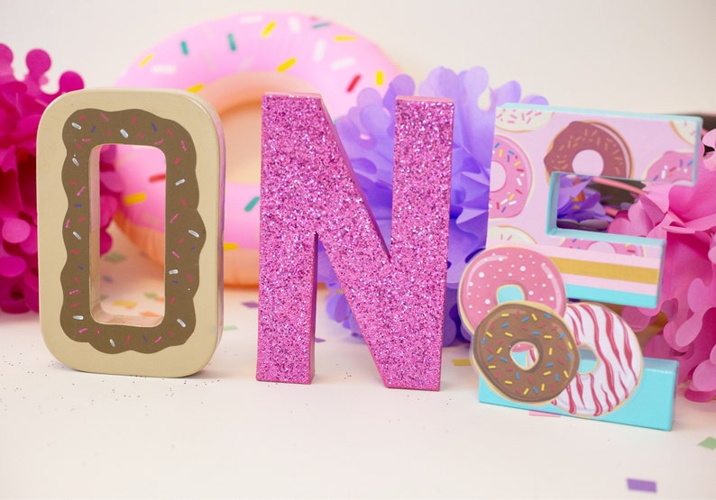 donut Party birthday letters donut decorations- donut Birthday -donut grow up party Donut Letters Glitter One Letters One Letters