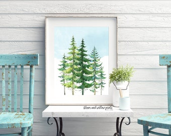 Instant Printable Evergreen Trees with Sky/Cabin Print/16X20/11x14/8x10/5x7,Boys Room, Forrest Printable/Up North Cabin/Mountain Trees