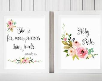 Custom Name Proverbs 3:15, She Is More Precious Than Jewels, Bible Verse Print, Bible Nursery Art, Scripture Print, Nursery Quote, Bible Art