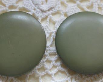"""2 vintage Coat Buttons 1 1/2"""" plastic shank #45"""