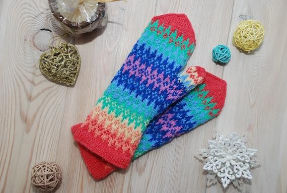 Stricken Sie Handschuhe warm Merino Winter Ornament Wolle | Etsy
