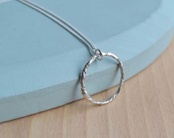 Luna Circle Necklace   Sterling Silver Circle Necklace   Textured Circle Necklace