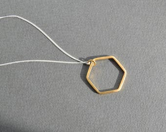 Sterling Silver Hexagon Necklace | Gold Vermeil Geometric Hexagon Necklace | Open Hexagon Geometric Necklace
