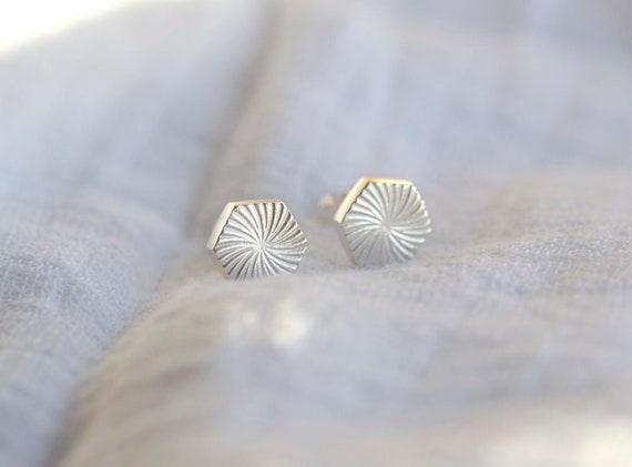 Gold Vermeil Hexagon Deco Ear Studs Small Sunburst Style Earrings Gold Hexagon Earrings Starburst Hexagon Stud Earrings