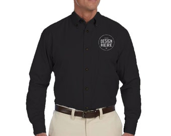Custom Embroidered Long Sleeve Dress Shirt, Personalize Button Down Shirt,  Branding t-shirts,