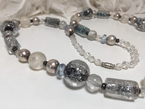 Pearl Necklace 94 cm long knotted with cross beads 925 silver