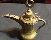 Antique Vintage Islamic Dallah Arabic Turkish Finjan Brass Coffee Tea Pot Middle Eastern Rare Gem Moon Symbol Carved Birds Etched Bronze