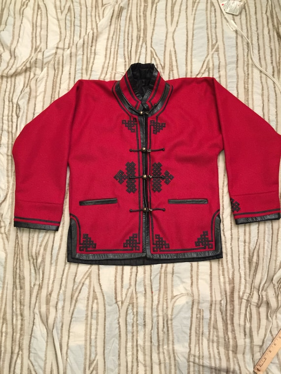 OOAK Stunning Vintage Red Wool Coat Asian Toggle Leather Trimmed Coat Blazer Top Mock Neck Mongolian Felt Silver Brass Buttons