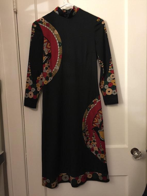 Aremis Vintage Black Dress Modern Geometric Italia