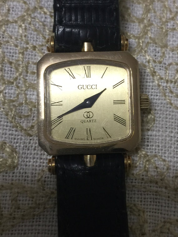 Vintage Gucci Gold Stacked Watch Black Band Enamel Green Red Green Stunning  Magnificent Must Have Authentic Quartz Swiss Made