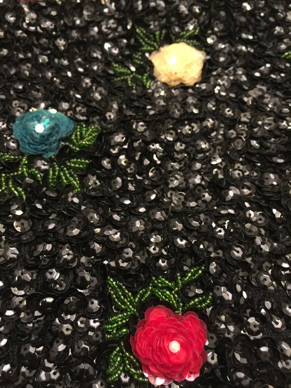 Stunning Vintage Jeweled Top Blouse Shirt Wedding Sequin Flower Bustier Encrusted Sweet Heart Roses Black Red Yellow House of Gold