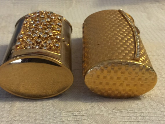 Lot Two Vintage Golden Bolster Rhinestone Purse Co