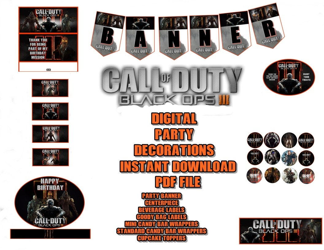 Call of Duty Black Opts 111 Digital Party Decorations Banner   Etsy
