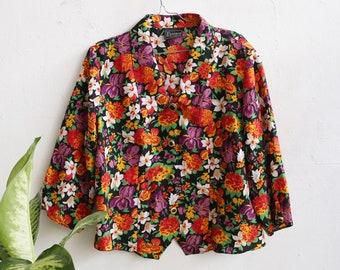 1d78ec01aa3 Vintage floral plus size blouse - flower blouse - flower button up shirt  daisy blouse - vintage collar shirt - 90s plus size fashion