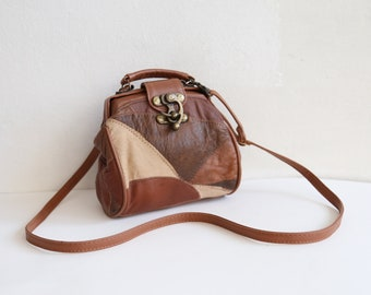 Vintage tiny patchwork purse shoulder bag small quilted hand bag leather  and synthetic mix brown leather patch bag rustic boohoo look c2db0a4026