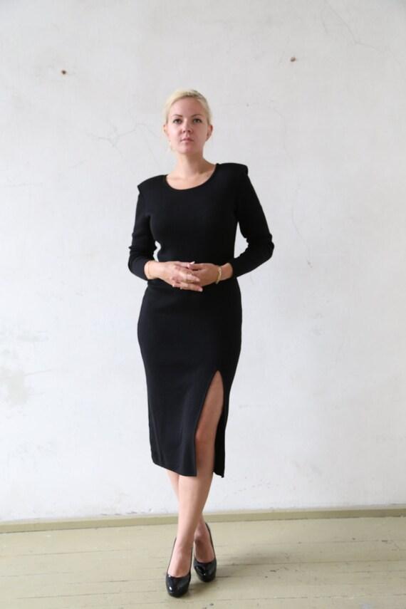 0a66207812 Long black tube dress shoulderpad dress black winter wool