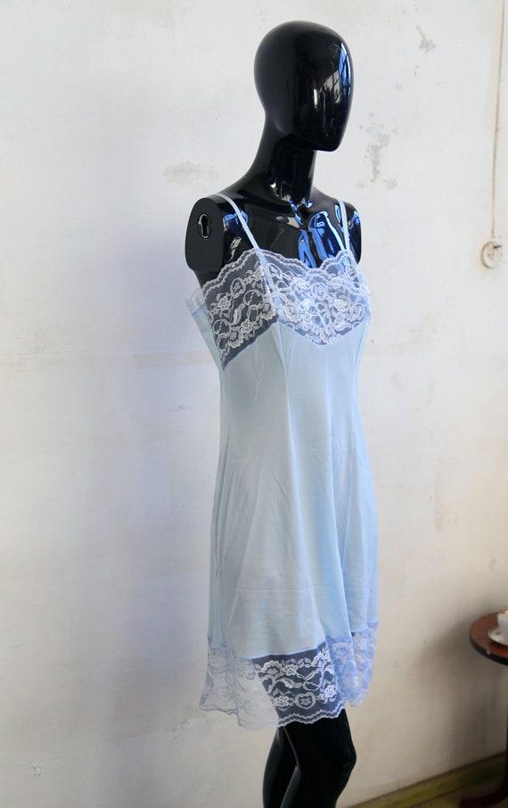 Vintage lace Soviet underwear petticoat - sky blue