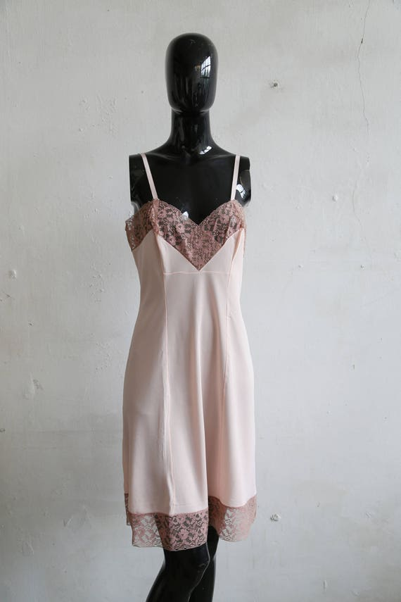 Vintage soviet underwear petticoat - beige lace u… - image 3