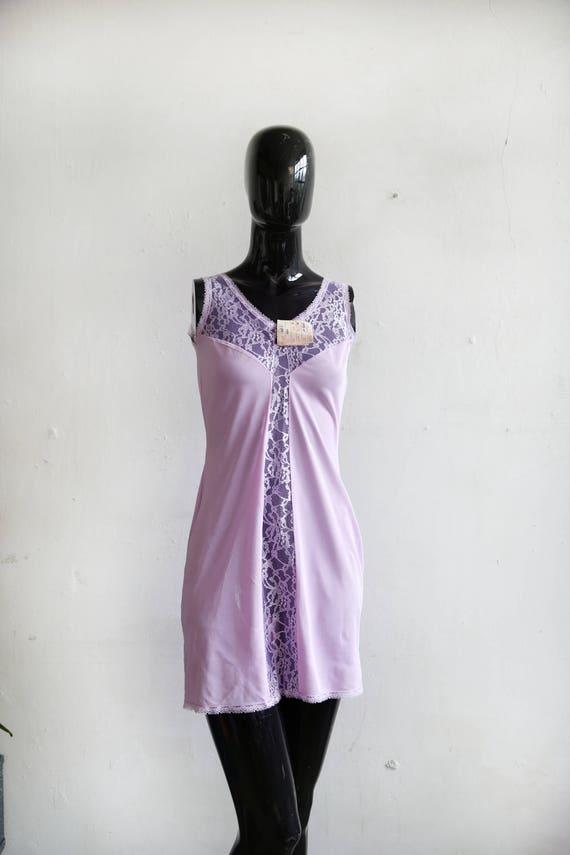 Vintage soviet underwear petticoat - purple lace u