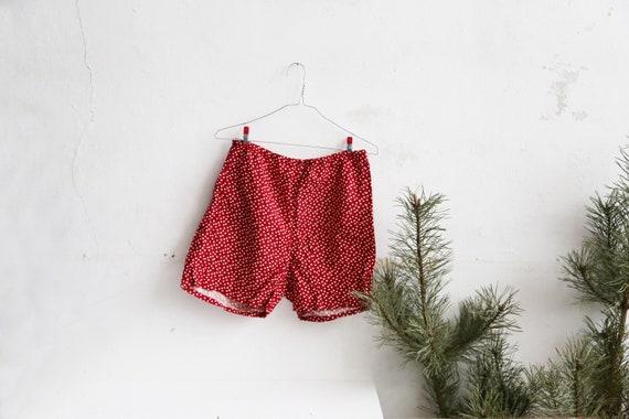Floral red brown mens boxer shorts underwear vintage  Soviet XL briefs cotton  Made in 1987 USSR sleeping bright boxers