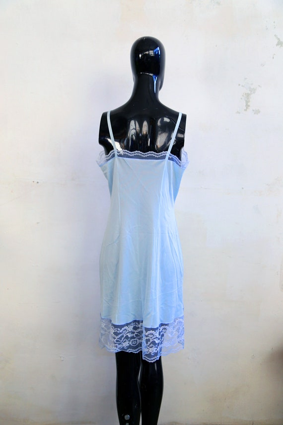 Vintage lace Soviet underwear petticoat - sky blu… - image 2