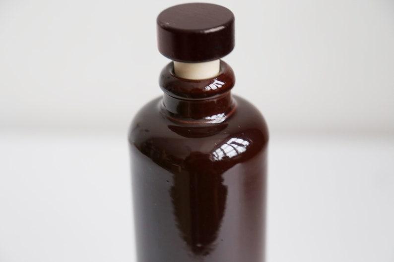 Glossy brown ceramic bottle earthenware decorative liquor bottle balsam bottle Scandinavian home decor brown bud vase home decor 0.35liter