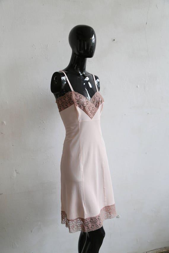 Vintage soviet underwear petticoat - beige lace u… - image 7