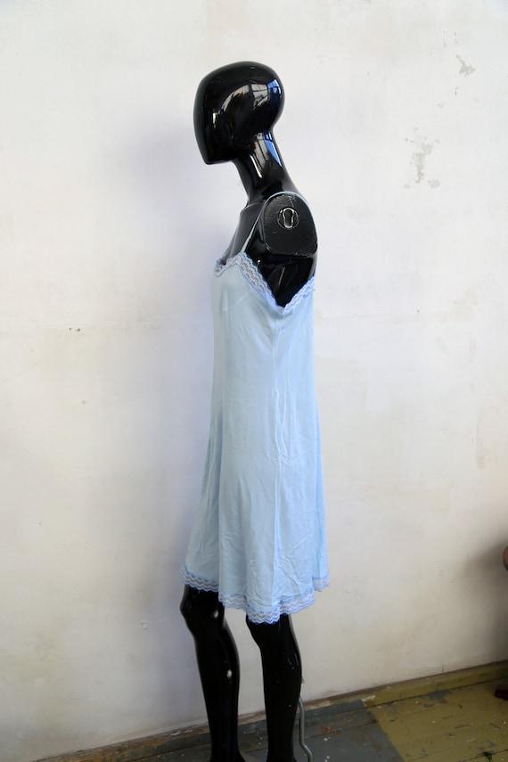 Vintage lace Soviet underwear petticoat - sky blu… - image 6